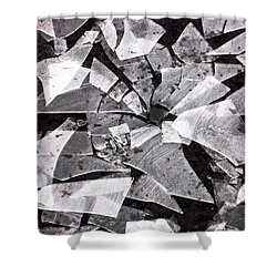 Shattered - Black And White Shower Curtain