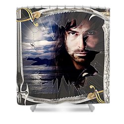 Shattered Kili With Swords Shower Curtain by Kathy Kelly