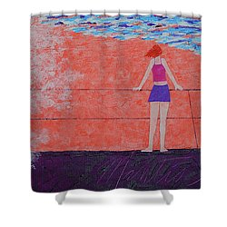 The Beach At Sunset Shower Curtain