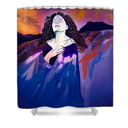 She Dreams In Rainbow Colors Shower Curtain by J Griff Griffin
