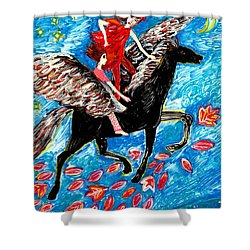 She Flies With The West Wind Shower Curtain by Sushila Burgess