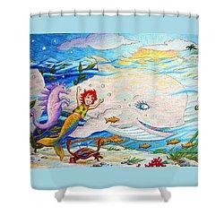 She Joyfully Swims  Shower Curtain by Matt Konar