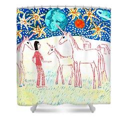 She Meets The Moon Unicorns Shower Curtain by Sushila Burgess