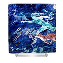 She Ran With The Hunted  Shower Curtain by Trudi Doyle