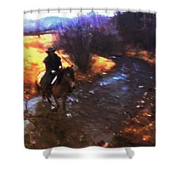 She Rides A Mustang-wrangler In The Rain Shower Curtain