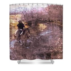 She Rides A Mustang-wrangler In The Rain II Shower Curtain
