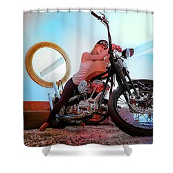 She Rides- Shower Curtain