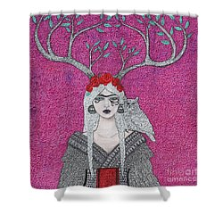 Shower Curtain featuring the mixed media She Wears The Crown by Natalie Briney