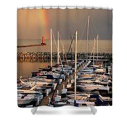 Sheboygan Harbor Rainbow Shower Curtain by Keith Stokes