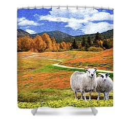 Sheep And Road Ver 2 Shower Curtain