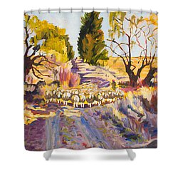 Sheep And Shepherd At Sunset Oil Painting Bertram Poole Shower Curtain by Thomas Bertram POOLE