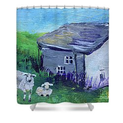 Shower Curtain featuring the painting Sheep In Scotland  by Claire Bull