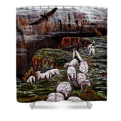 Sheep In The Mountains  Shower Curtain by Judy Kirouac