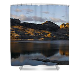 Sheep Mountain Sunrise - Panoramic-signed-12x55 Shower Curtain