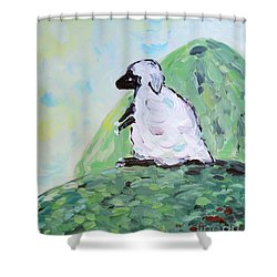 Shower Curtain featuring the painting Sheep On A Hill by Maria Langgle