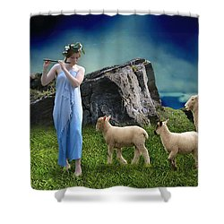 Shower Curtain featuring the mixed media Sheep Whisperer by Marvin Blaine