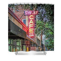 Shower Curtain featuring the photograph Shelby Cafe by Marion Johnson