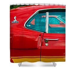 Red Shelby Mustang Side View Shower Curtain