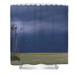 Shelf Cloud And Windmill -02 Shower Curtain by Rob Graham