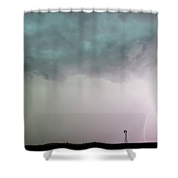 Shelf Cloud And Windmill -05 Shower Curtain by Rob Graham