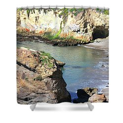 Shower Curtain featuring the photograph Shell Beach Cave by Art Block Collections