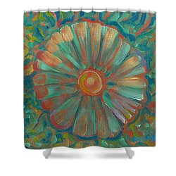 Shower Curtain featuring the painting Shell Flower by John Keaton