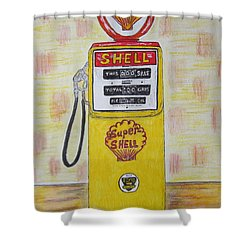 Shower Curtain featuring the painting Shell Gas Pump by Kathy Marrs Chandler