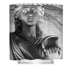 Shell In Hand B-w Shower Curtain by Christopher Holmes