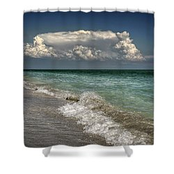 Shells, Surf And Summer Sky Shower Curtain