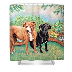 Shelter Rescued And Loved Shower Curtain by Patricia L Davidson