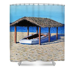 Sheltered Boat Shower Curtain by Paul Walsh