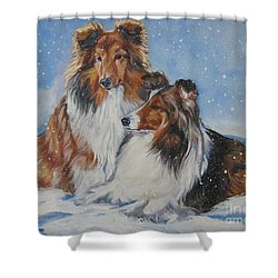 Sheltie Pair Shower Curtain by Lee Ann Shepard