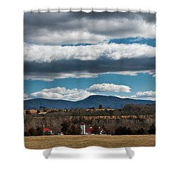 Shenandoah Valley Farm Winter Skies Shower Curtain