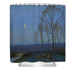 Shepherd And Sheep At Moonlight Shower Curtain by OB Morgan