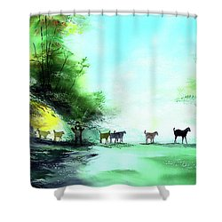 Shower Curtain featuring the painting Shepherd by Anil Nene