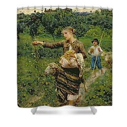 Shepherdess Carrying A Bunch Of Grapes Shower Curtain by Francesco Paolo Michetti