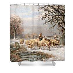 Shepherdess With Her Flock In A Winter Landscape Shower Curtain by Alexis de Leeuw