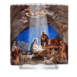 Shepherds Field Nativity Painting Shower Curtain