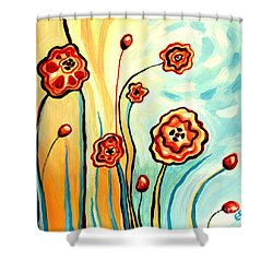 Sherbert And Powder Blue Skies Shower Curtain by Elizabeth Robinette Tyndall
