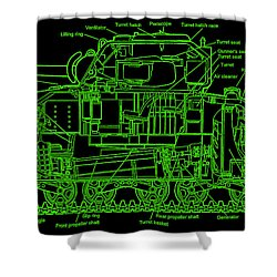 Shower Curtain featuring the drawing Sherman M4a4 Tank by Robert Geary