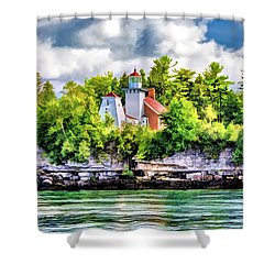 Shower Curtain featuring the painting Sherwood Point Lighthouse by Christopher Arndt