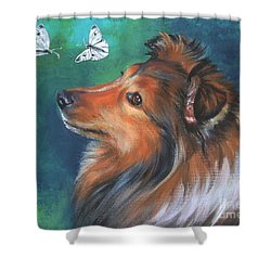 Shetland Sheepdog And Butterfly Shower Curtain by Lee Ann Shepard