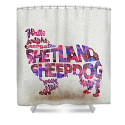 Shower Curtain featuring the painting Shetland Sheepdog Watercolor Painting / Typographic Art by Inspirowl Design