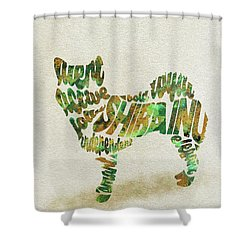 Shower Curtain featuring the painting Shiba Inu Watercolor Painting / Typographic Art by Inspirowl Design