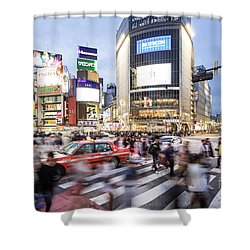 Shibuya Crossing At Night In Tokyo Shower Curtain