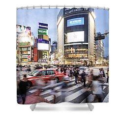 Shibuya Crossing At Night In Tokyo Shower Curtain