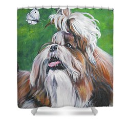 Shih Tzu And Butterfly Shower Curtain by Lee Ann Shepard