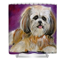 Shih-tzu Puppy Shower Curtain by Jenny Lee