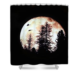 Silhouettes Om Full Moon Shower Curtain