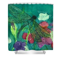 Shimmering Dragonfly W Sweetpeas Square Crop Shower Curtain